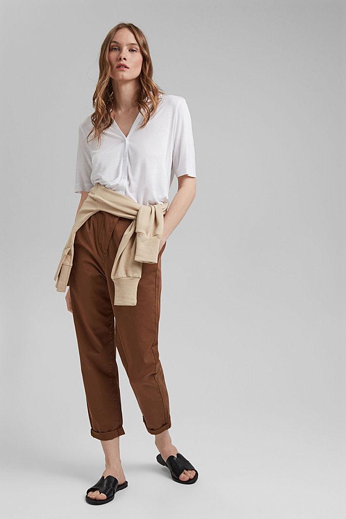 Pantalón chino con cintura alta, 100 % algodón Pima, TOFFEE, detail image number 1