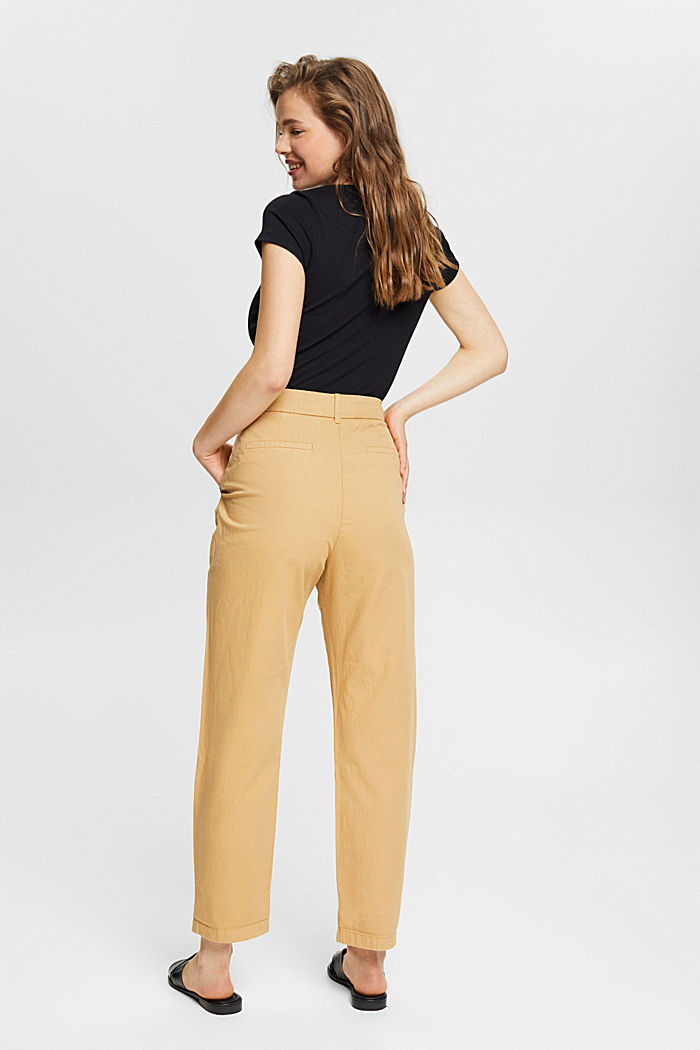 Pantalón chino con cintura alta, 100 % algodón Pima, KHAKI BEIGE, detail image number 3