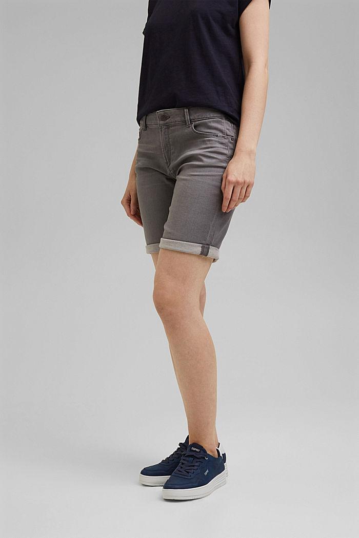 Denim shorts in soft tracksuit material, GREY MEDIUM WASHED, detail image number 0