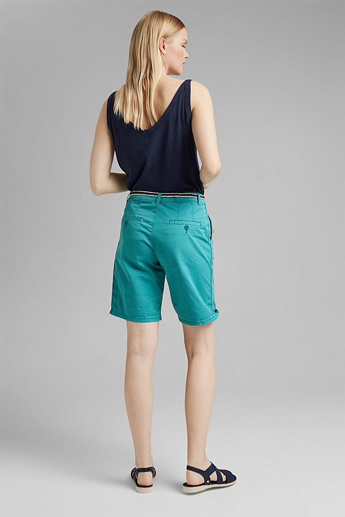 Con cintura: bermuda in cotone stretch, TEAL GREEN, detail image number 3