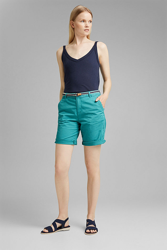 Con cintura: bermuda in cotone stretch, TEAL GREEN, detail image number 1