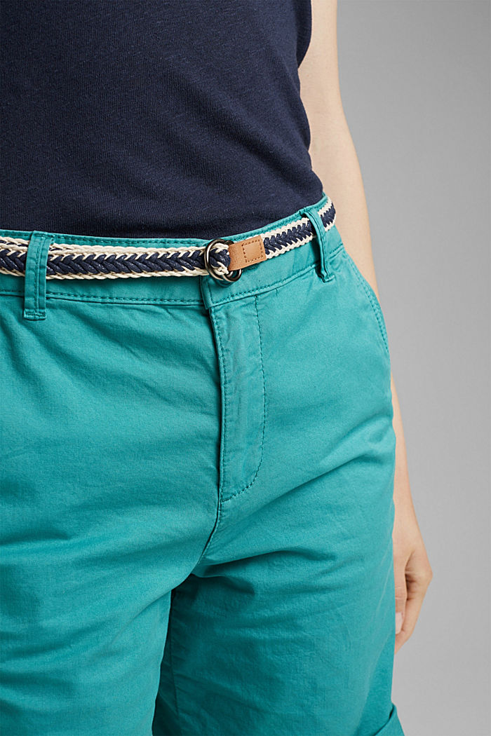 Con cintura: bermuda in cotone stretch, TEAL GREEN, detail image number 2