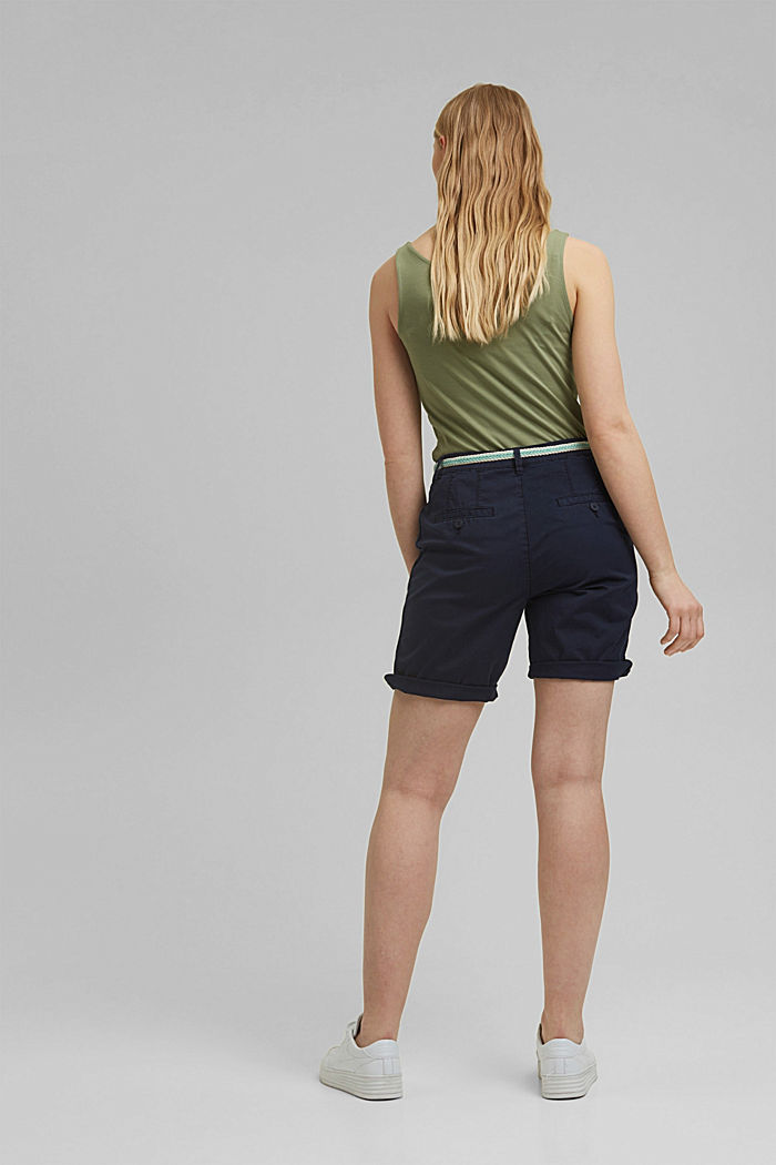 Stretch cotton Bermudas with a belt, NAVY, detail image number 3