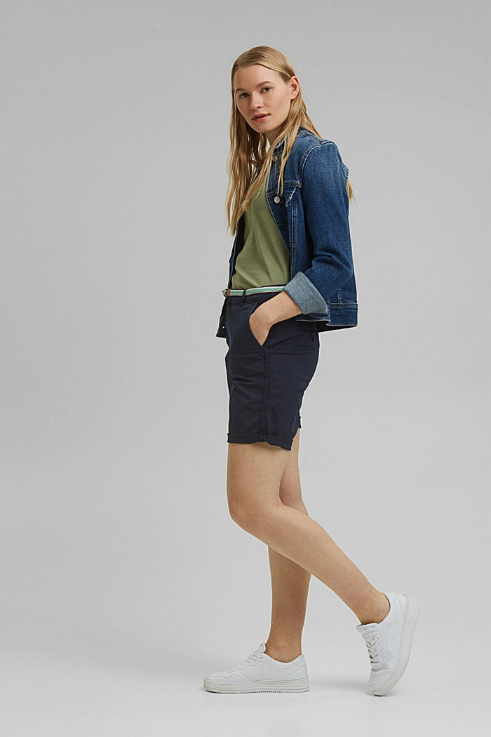 Stretch cotton Bermudas with a belt, NAVY, detail image number 1