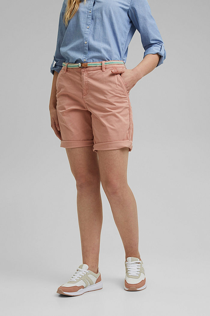 Stretch cotton Bermudas with a belt, NUDE, detail image number 0