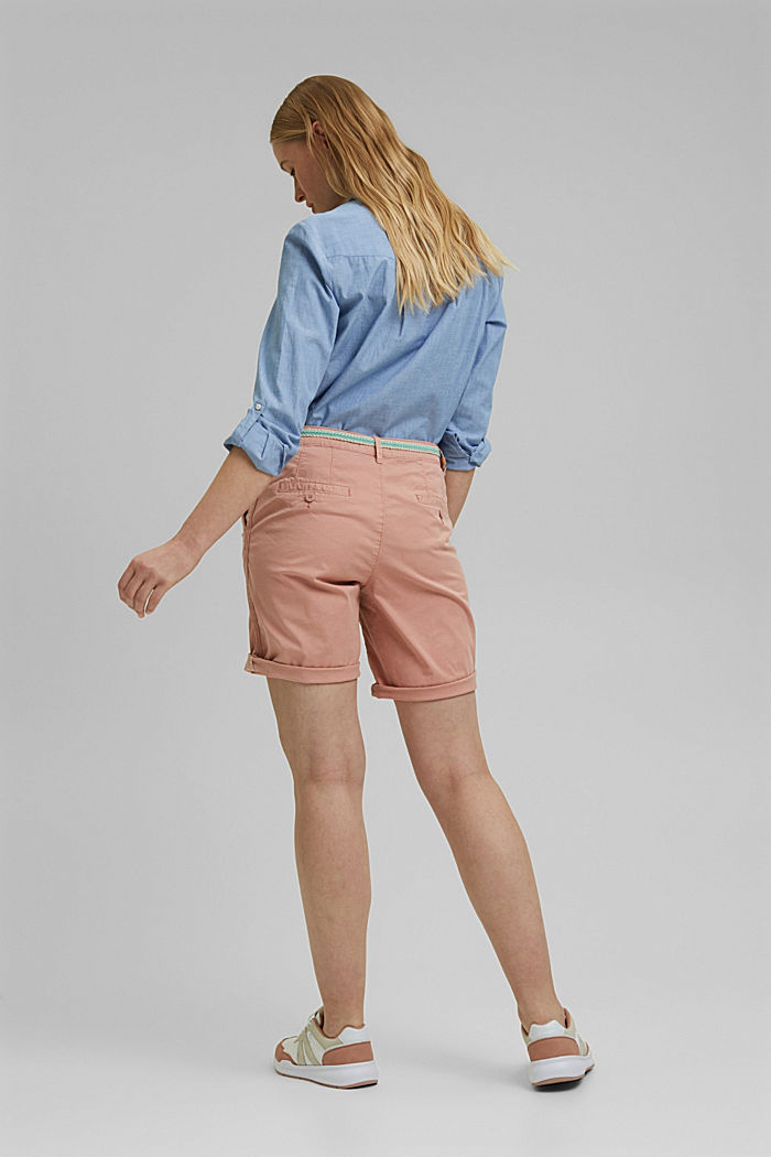 Stretch cotton Bermudas with a belt, NUDE, detail image number 3