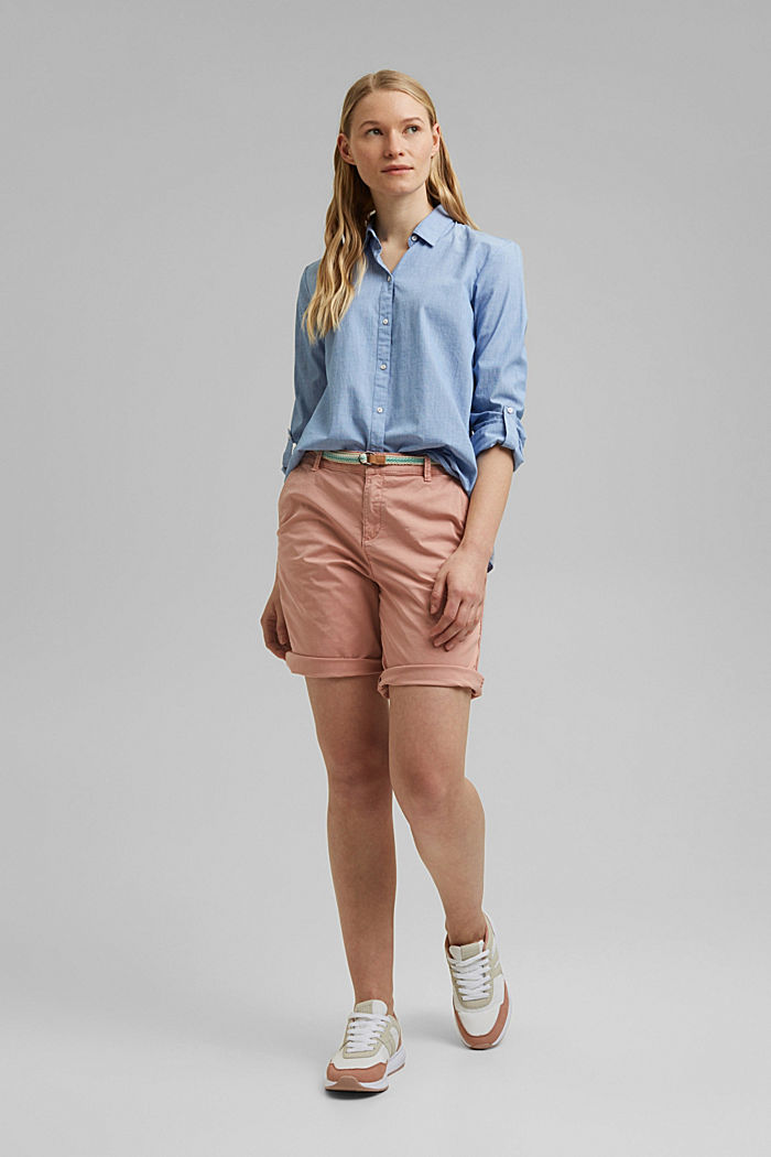 Stretch cotton Bermudas with a belt, NUDE, detail image number 1