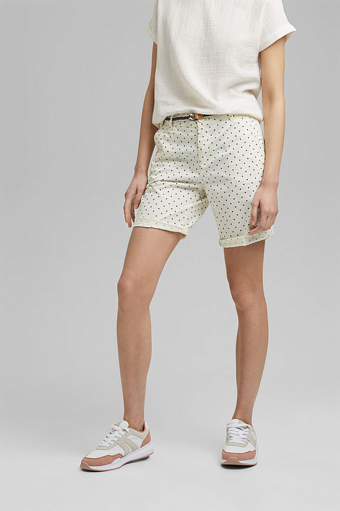 Stretch cotton Bermudas with a belt, OFF WHITE, detail image number 0