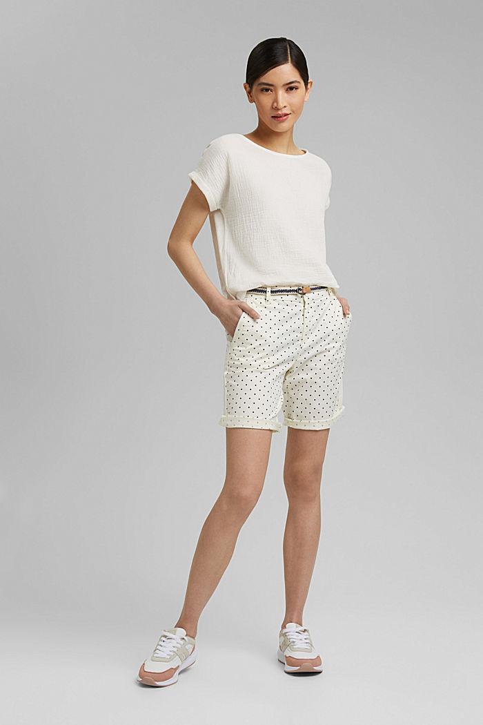 Stretch cotton Bermudas with a belt, OFF WHITE, detail image number 1