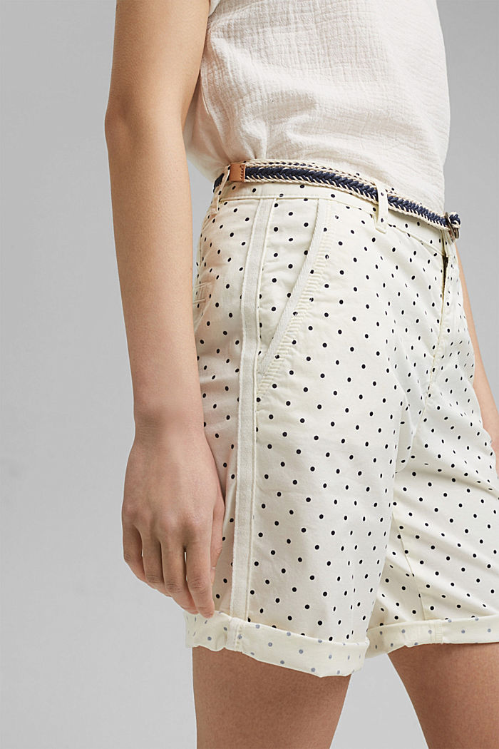Stretch cotton Bermudas with a belt, OFF WHITE, detail image number 2