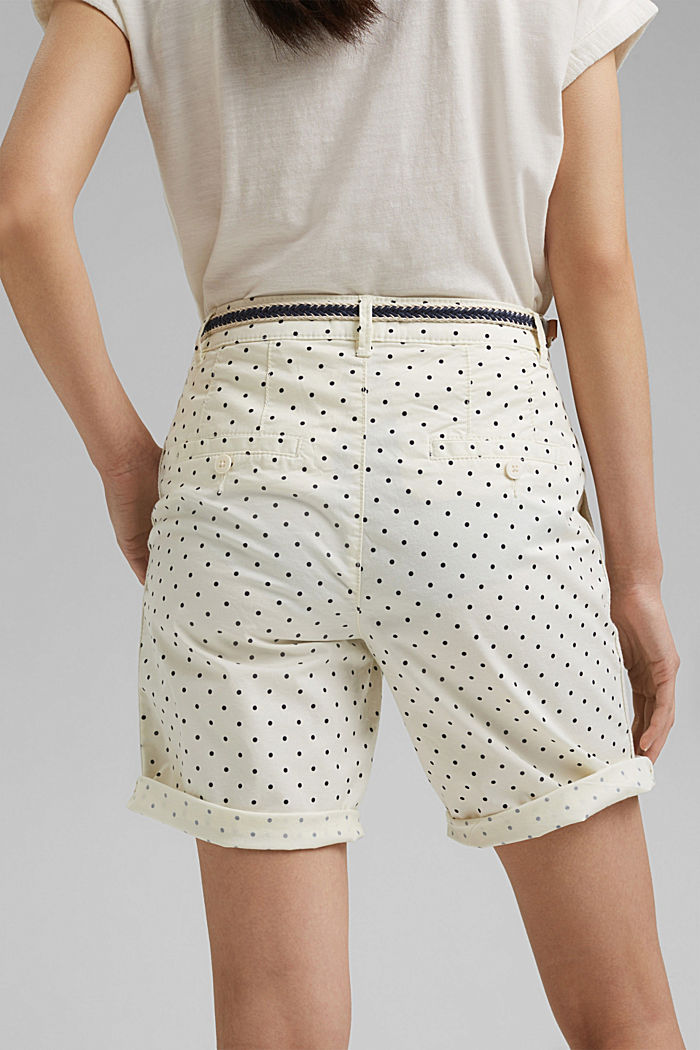 Stretch cotton Bermudas with a belt, OFF WHITE, detail image number 5