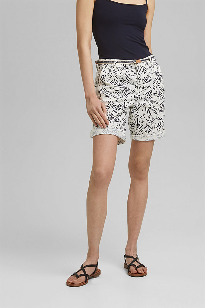 Stretch cotton Bermudas with a belt, NEW OFF WHITE, detail image number 0