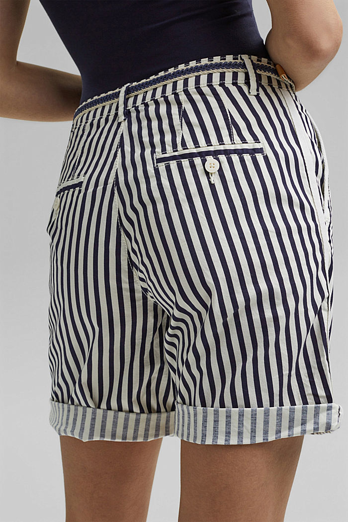 Stretch cotton Bermudas with a belt, OFF WHITE COLORWAY, detail image number 5