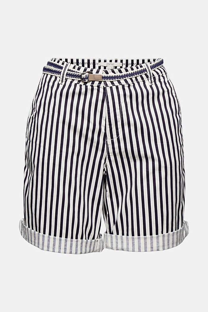 Stretch cotton Bermudas with a belt, OFF WHITE COLORWAY, detail image number 6