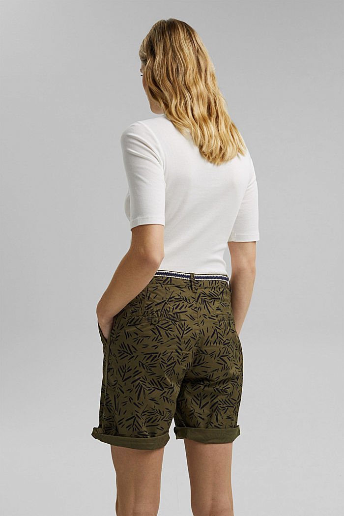 Stretch cotton Bermudas with a belt, KHAKI GREEN, detail image number 3