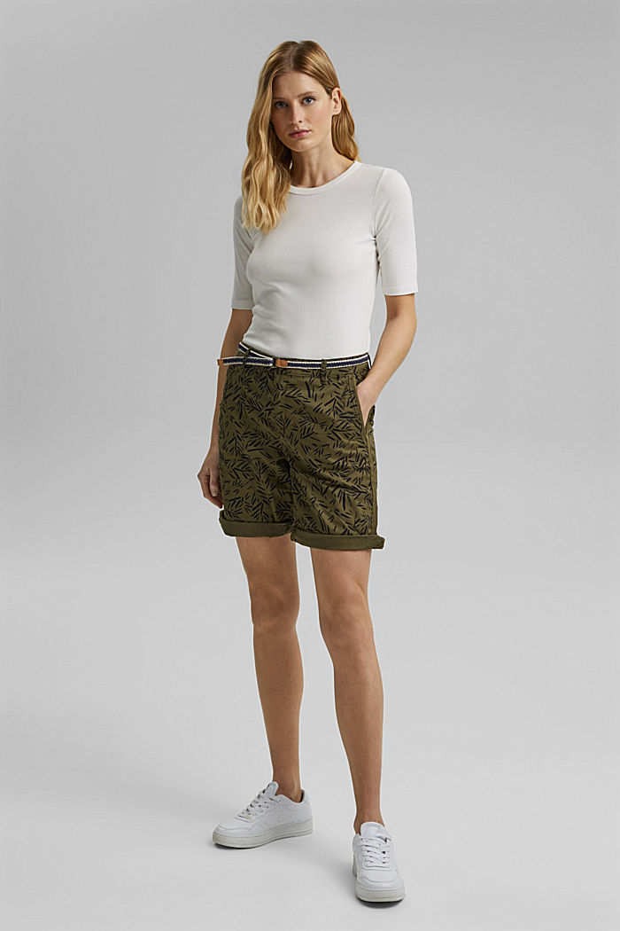 Stretch cotton Bermudas with a belt, KHAKI GREEN, detail image number 1