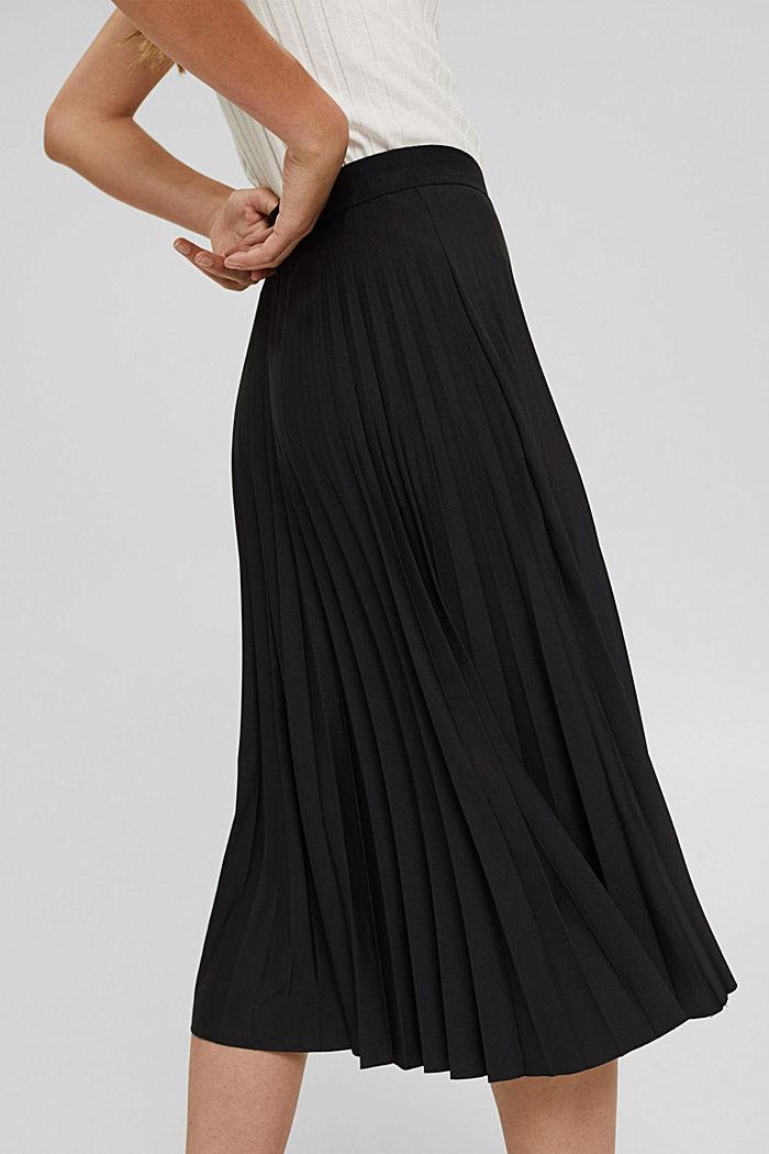 Plooirok met elastische band, BLACK, detail image number 2