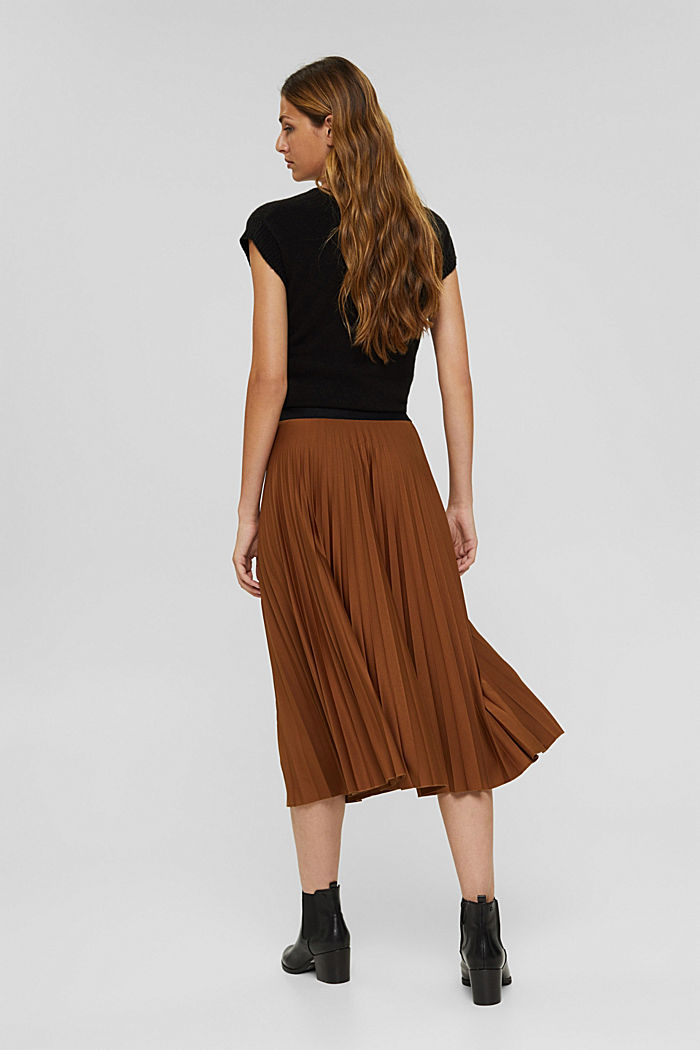 Pleated skirt with elasticated waistband, TOFFEE, detail image number 3