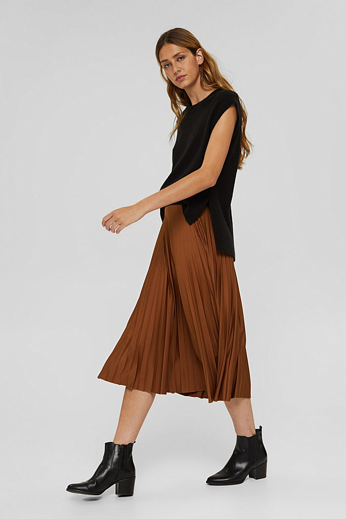 Pleated skirt with elasticated waistband, TOFFEE, detail image number 1
