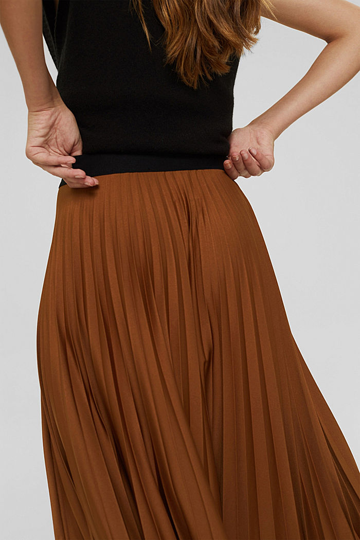 Pleated skirt with elasticated waistband, TOFFEE, detail image number 2