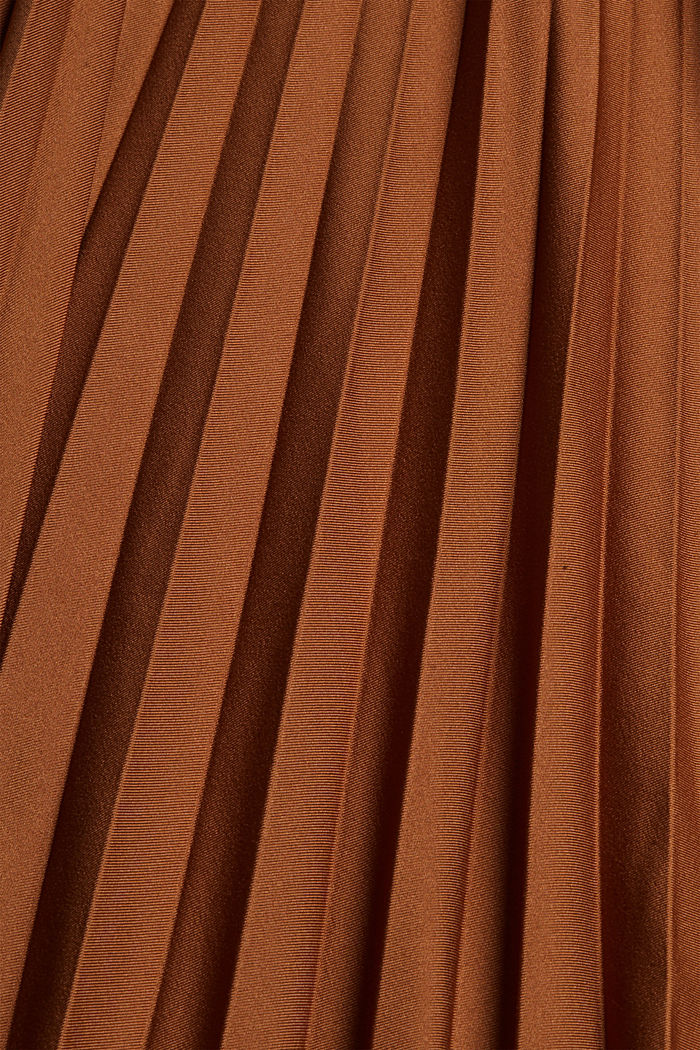 Pleated skirt with elasticated waistband, TOFFEE, detail image number 4