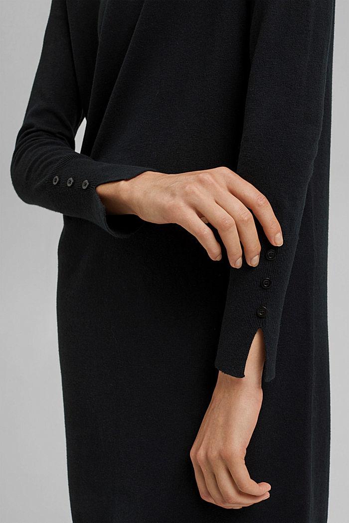 Abito in maglia basic di misto cotone biologico, BLACK, detail image number 3