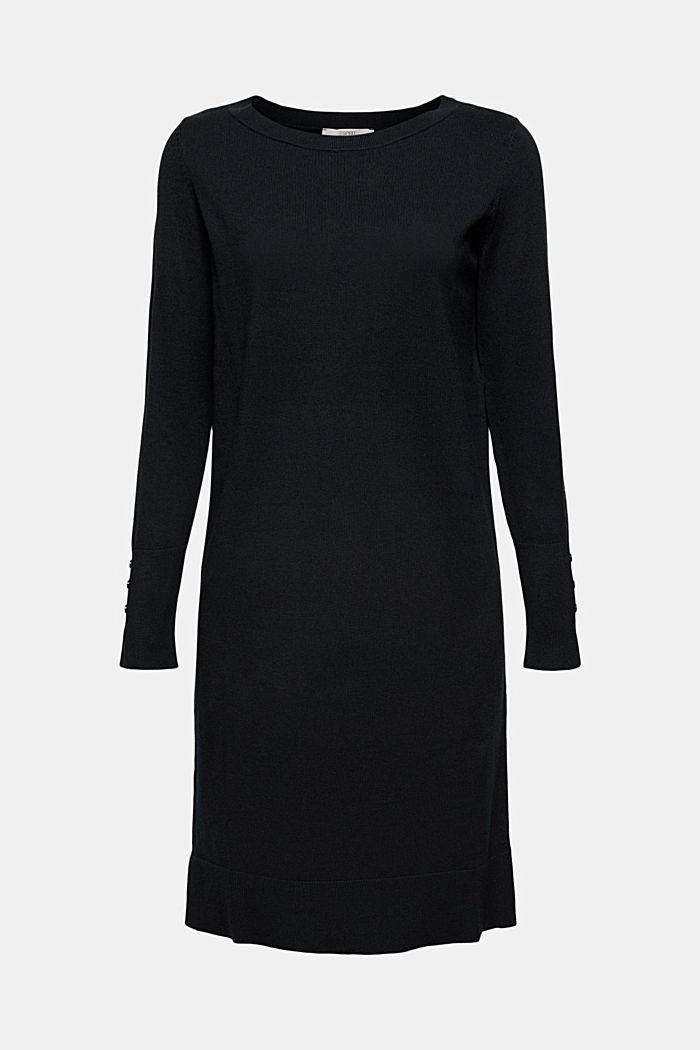 Abito in maglia basic di misto cotone biologico, BLACK, detail image number 7