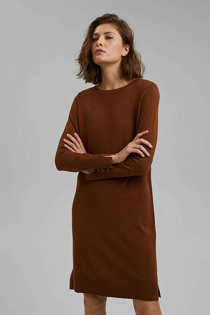 Basic knitted dress in an organic cotton blend, TOFFEE, detail image number 0