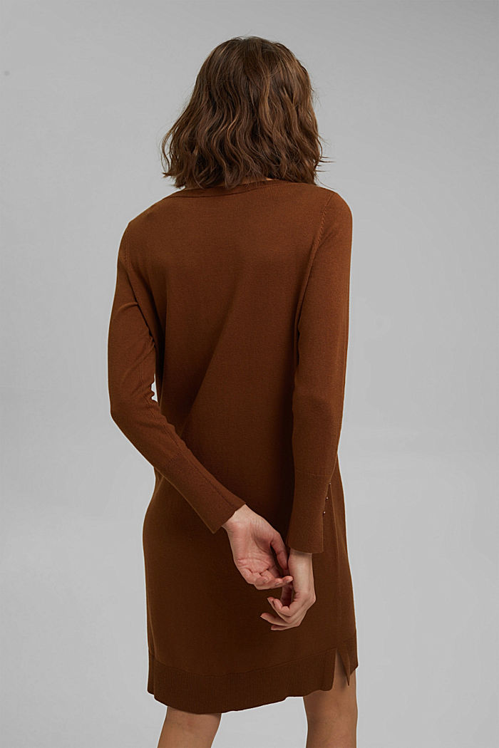 Basic knitted dress in an organic cotton blend, TOFFEE, detail image number 2