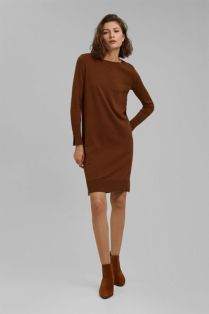 Basic knitted dress in an organic cotton blend, TOFFEE, detail image number 1