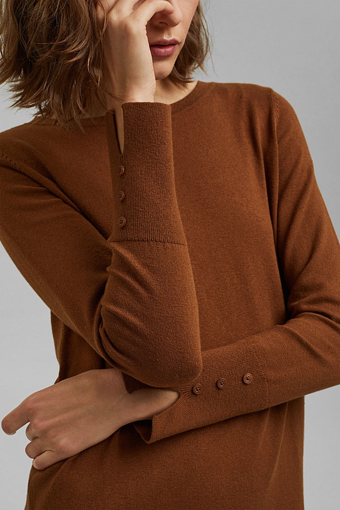 Basic knitted dress in an organic cotton blend, TOFFEE, detail image number 3