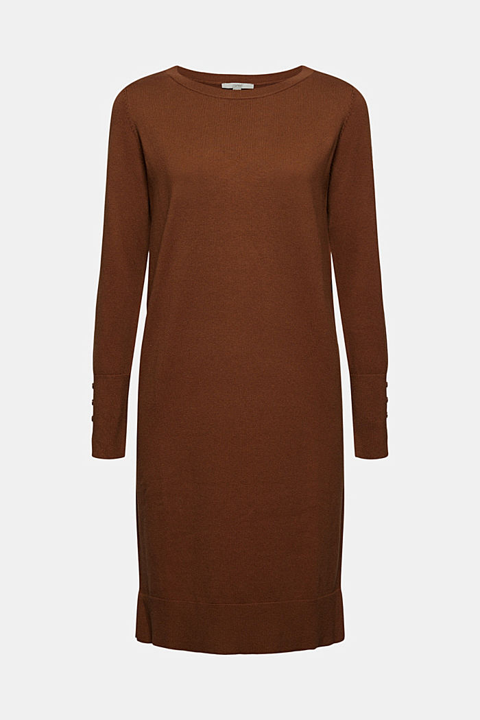 Basic knitted dress in an organic cotton blend, TOFFEE, detail image number 5