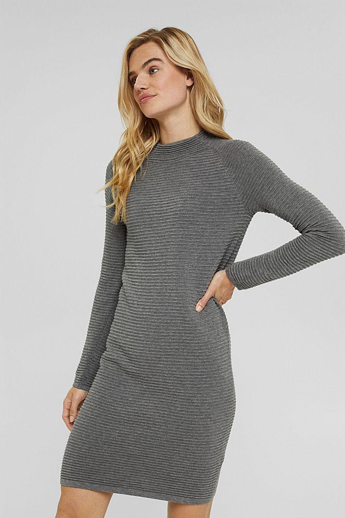 Rib knit dress, 100% organic cotton, GUNMETAL, detail image number 0