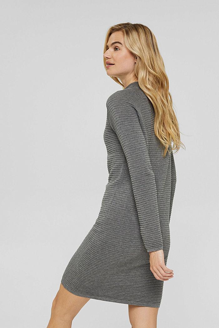 Rib knit dress, 100% organic cotton, GUNMETAL, detail image number 2