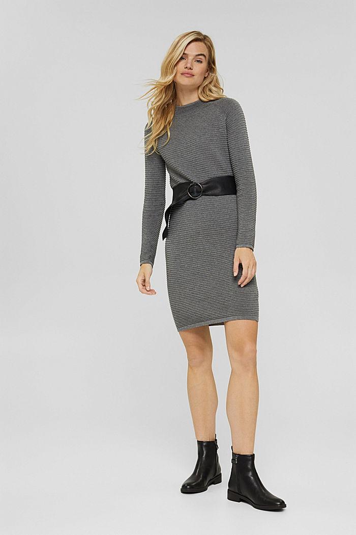 Rib knit dress, 100% organic cotton, GUNMETAL, detail image number 1