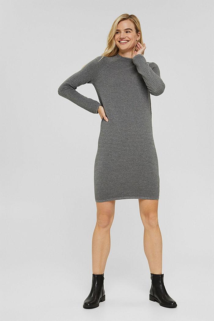 Rib knit dress, 100% organic cotton, GUNMETAL, detail image number 6