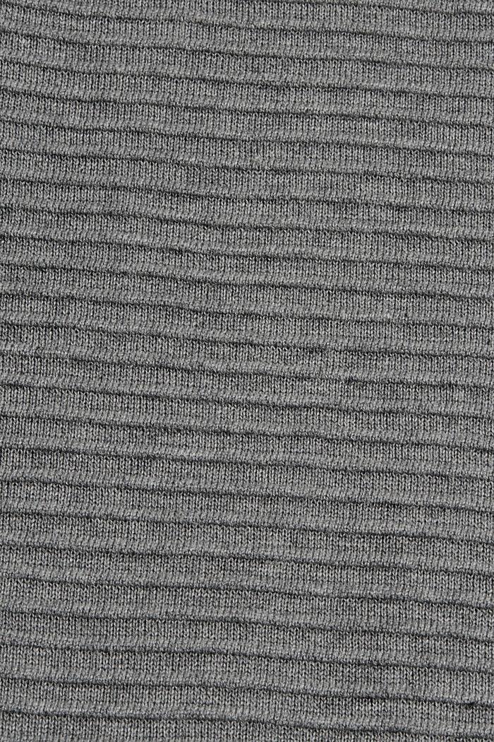Rib knit dress, 100% organic cotton, GUNMETAL, detail image number 5