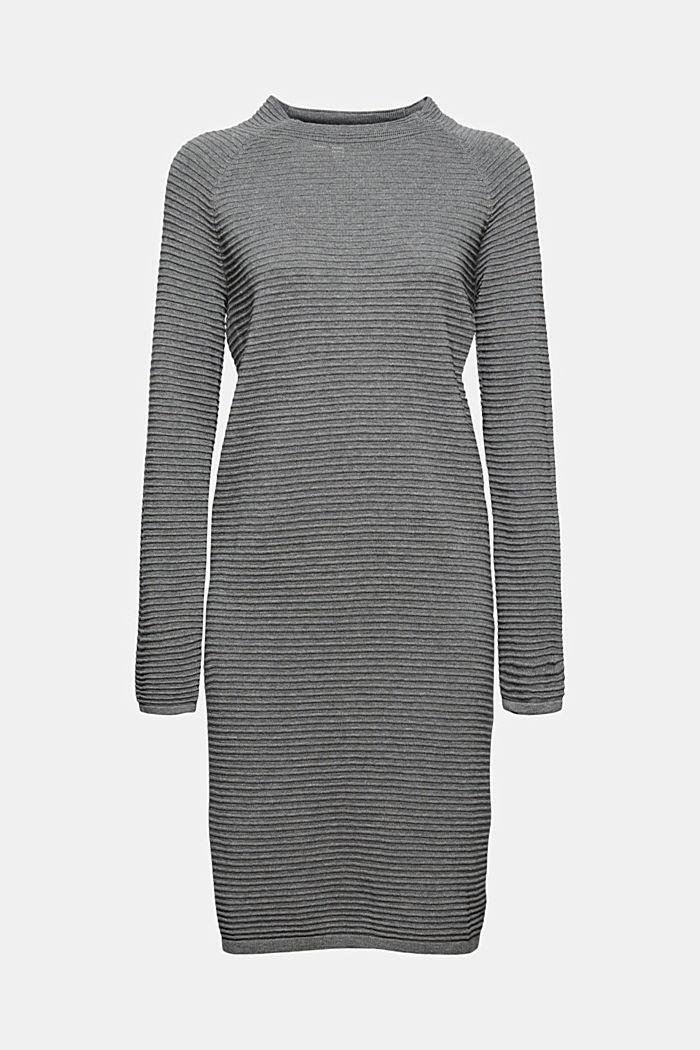 Rib knit dress, 100% organic cotton, GUNMETAL, detail image number 7