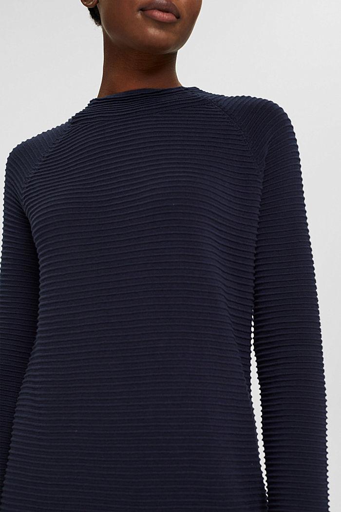 Robe-pull côtelée, 100% coton biologique, NAVY, detail image number 3