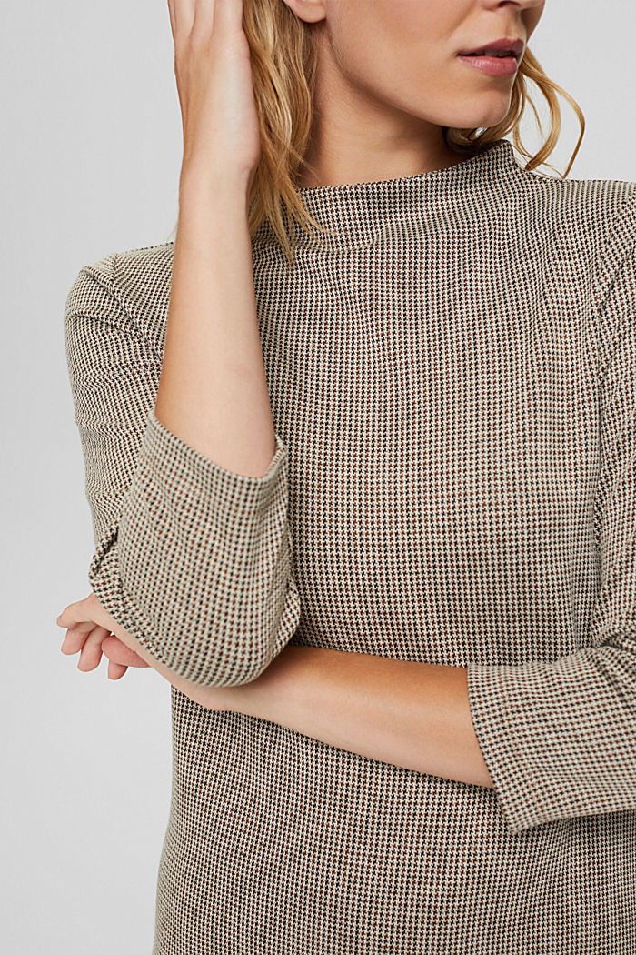 Recycled: jersey dress with a houndstooth pattern, CAMEL, detail image number 3