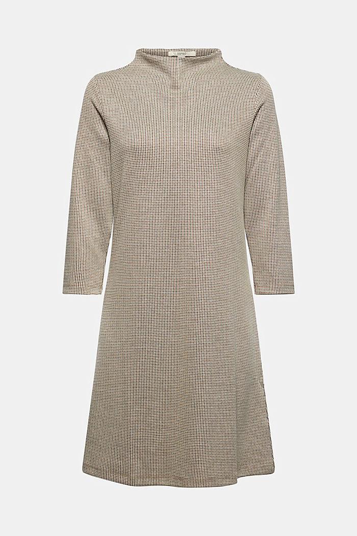 Recycelt: Jerseykleid mit Hahnentritt-Muster