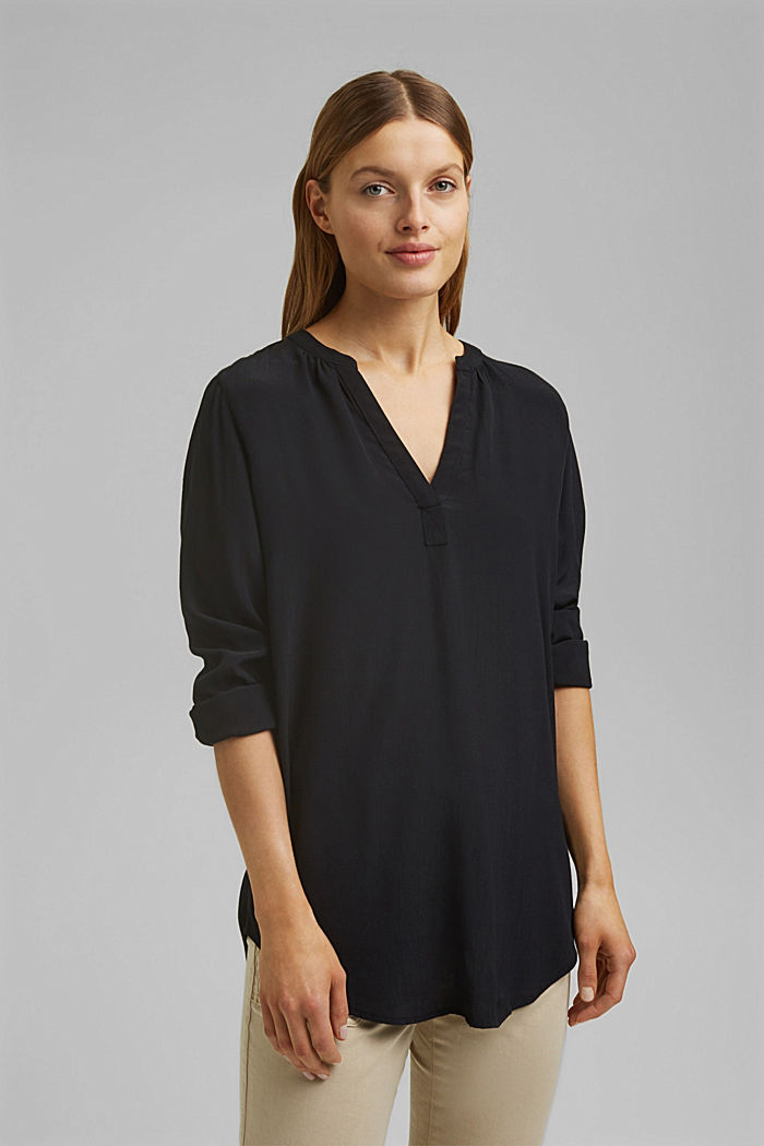 Blouse made of LENZING™ ECOVERO™ viscose, BLACK, detail image number 0