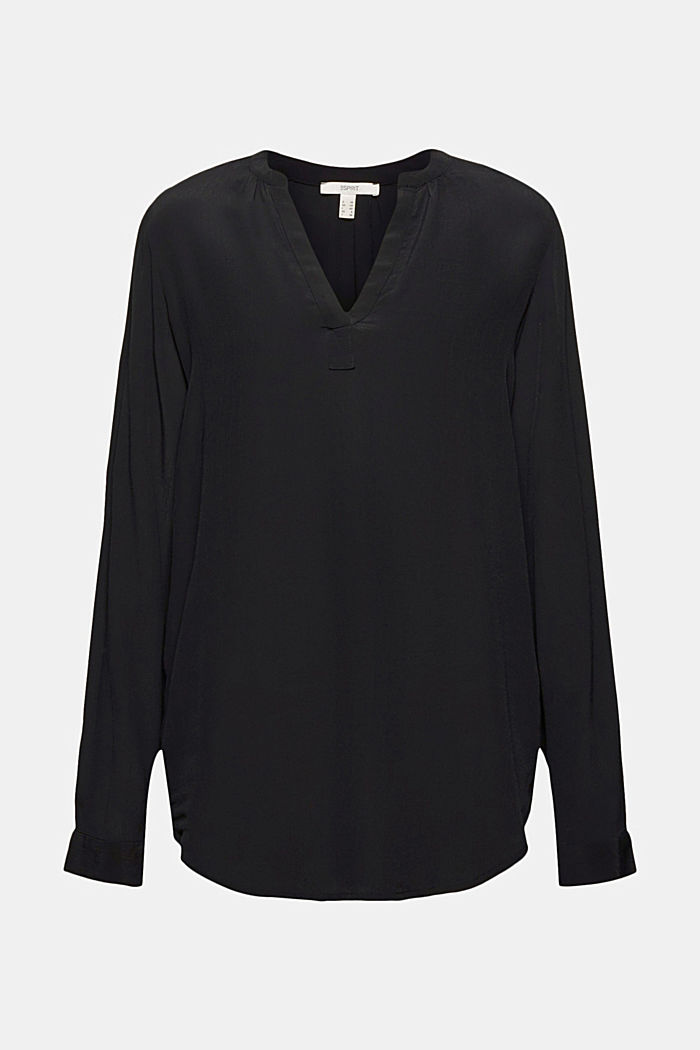 Blouse made of LENZING™ ECOVERO™ viscose, BLACK, detail image number 6