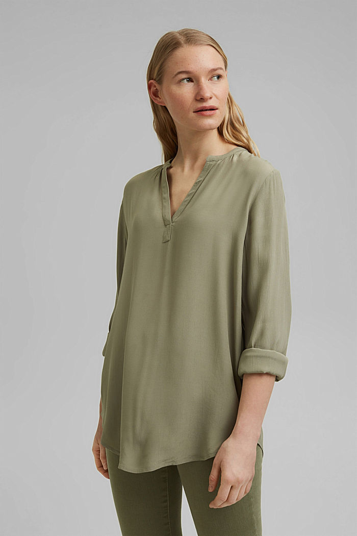 Blouse made of LENZING™ ECOVERO™ viscose, LIGHT KHAKI, detail image number 0