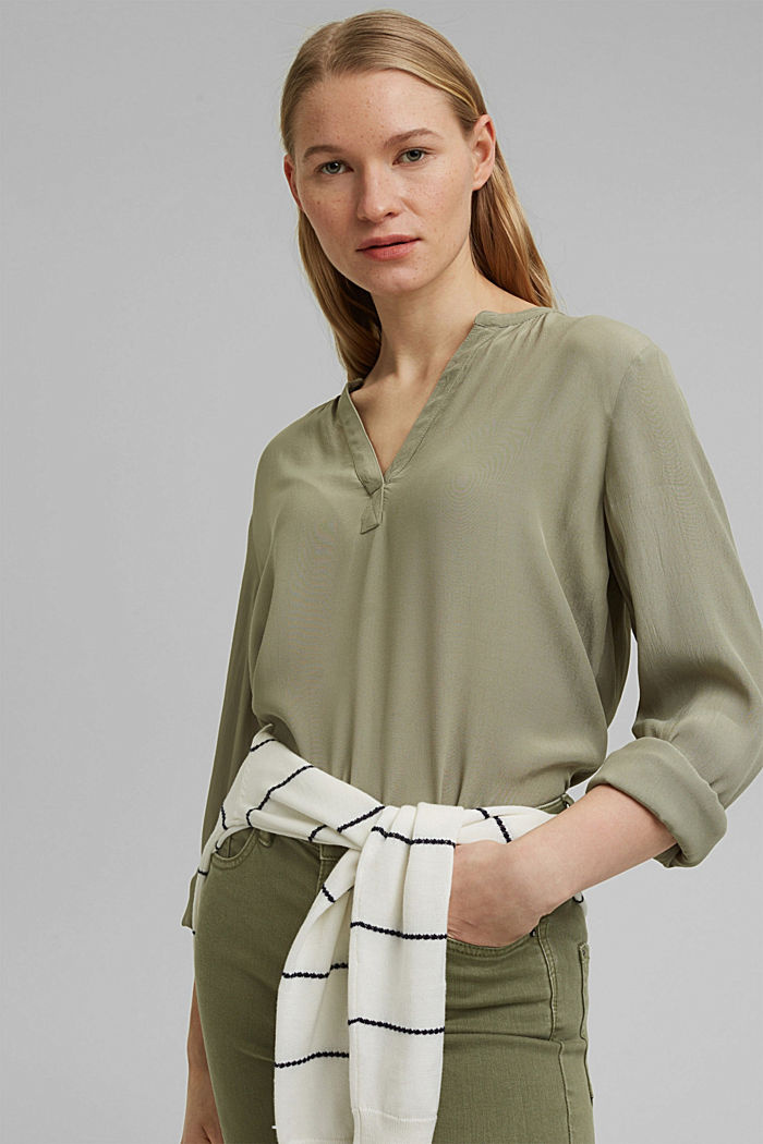 Blouse made of LENZING™ ECOVERO™ viscose, LIGHT KHAKI, detail image number 5