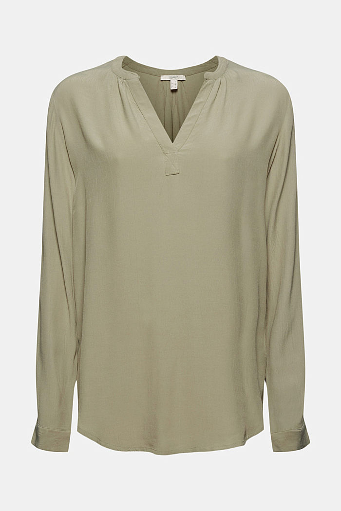 Blouse made of LENZING™ ECOVERO™ viscose, LIGHT KHAKI, detail image number 6