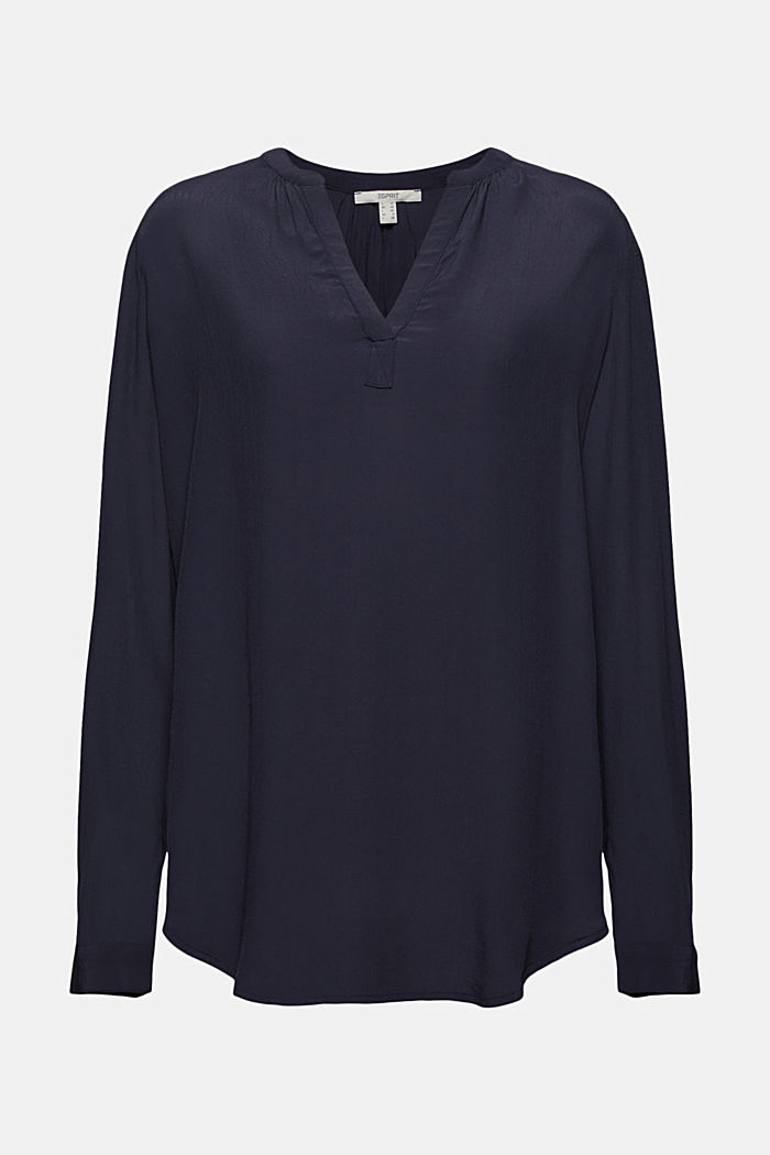 Blouse made of LENZING™ ECOVERO™ viscose, NAVY, detail image number 7
