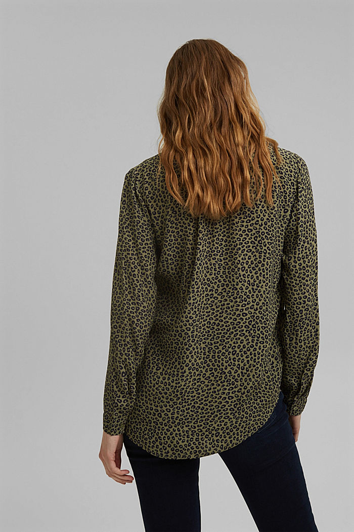 Blouse made of LENZING™ ECOVERO™ viscose, KHAKI GREEN, detail image number 3