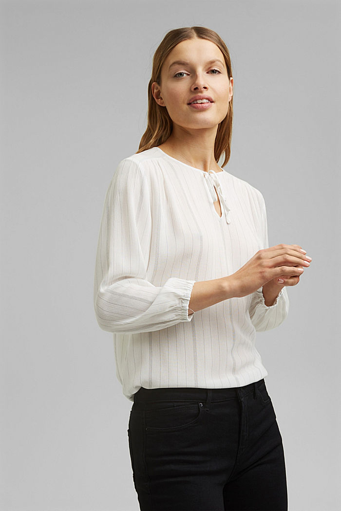 Striped tunic-style blouse, OFF WHITE, detail image number 0