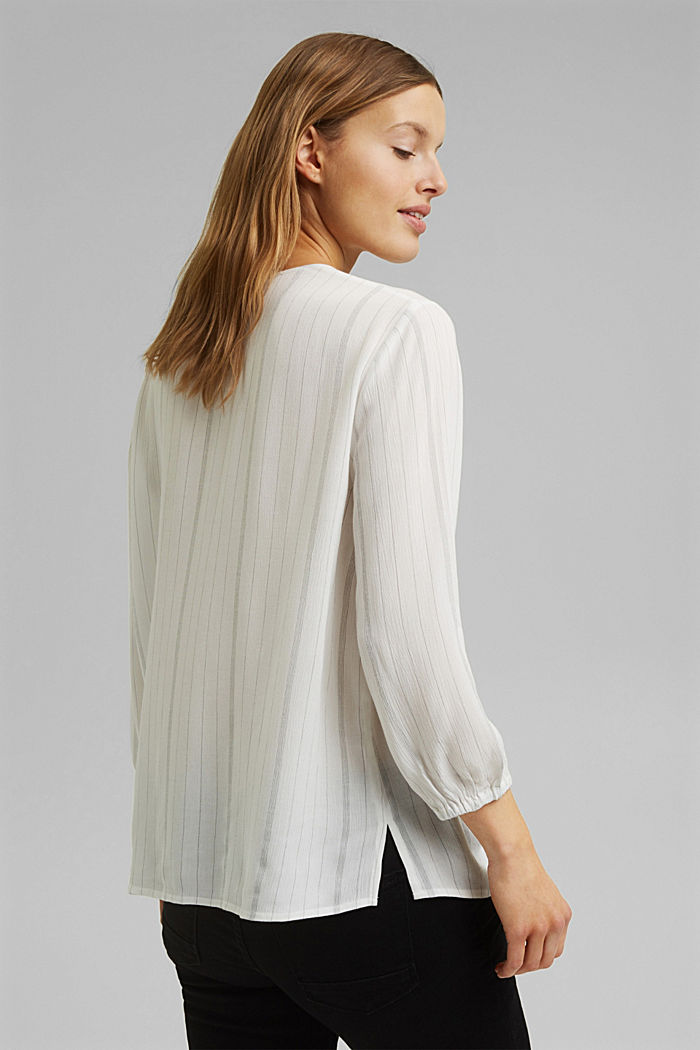 Blusa a righe stile tunica, OFF WHITE, detail image number 3